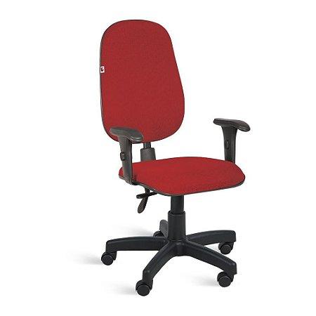 Cadeira Presidente Back System Braços Tecido Vermelho