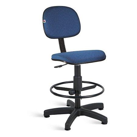 Cadeira Caixa Secretária Tecido Azul Com Preto