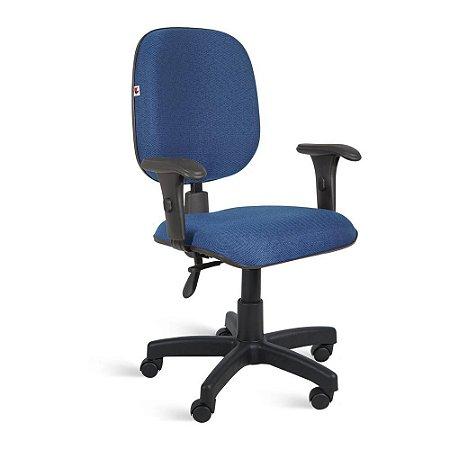 Cadeira Diretor Back System Braços Tecido Azul Com Preto