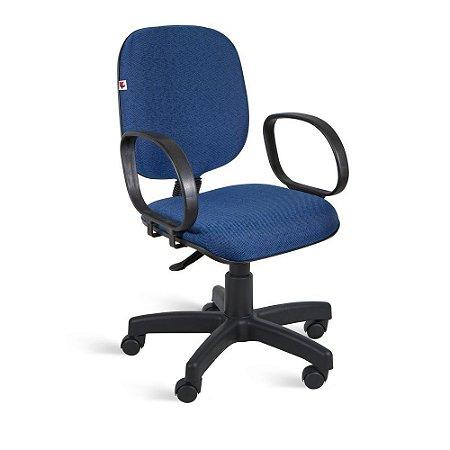 Cadeira Diretor Giratória Braços Tecido Azul Com Preto