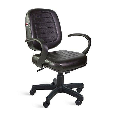 Cadeira Diretor Relax Braços Couríssimo Preto Ônix