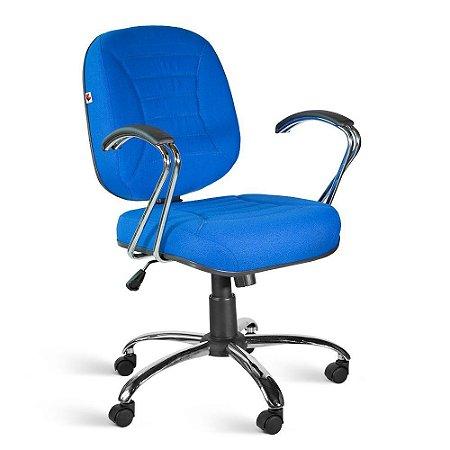 Cadeira Diretor Relax Braços Tecido Azul Titânio