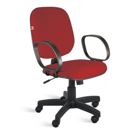 Cadeira Diretor Relax Braços Tecido Vermelho