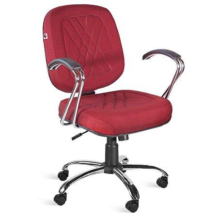 Cadeira Diretor Relax Braços Tecido Vermelho Telúrio