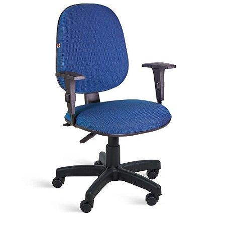 Cadeira Gerente Back System Braços Tecido Azul Com Preto