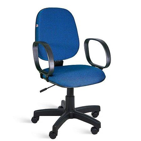 Cadeira Gerente Relax Braços Tecido Azul Com Preto
