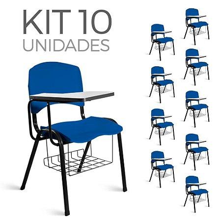 Cadeira Plástica Universitária Kit 10 A/E Azul Lara