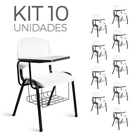 Cadeira Plástica Universitária Kit 10 A/E Branco Lara