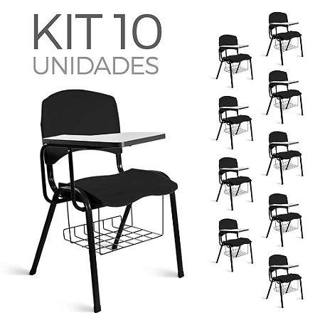 Cadeira Plástica Universitária Kit 10 A/E Preto Lara