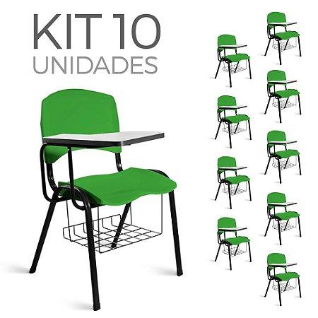 Cadeira Plástica Universitária Kit 10 A/E Verde Lara