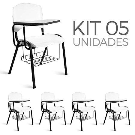 Cadeira Plástica Universitária kit 5 A/E Branco Lara