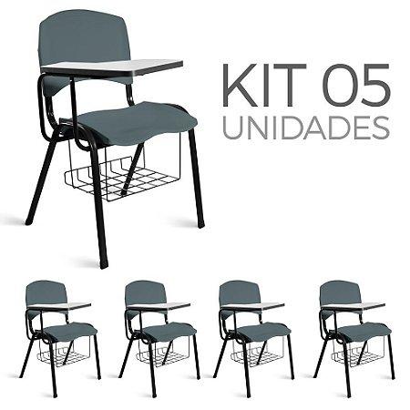 Cadeira Plástica Universitária Kit 5 A/E Cinza Lara