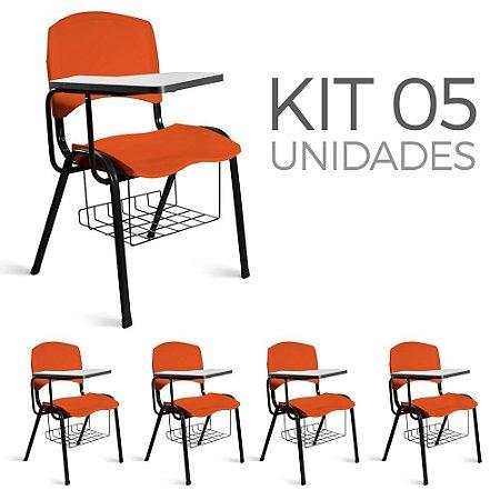 Cadeira Plástica Universitária Kit 5 A/E Laranja Lara