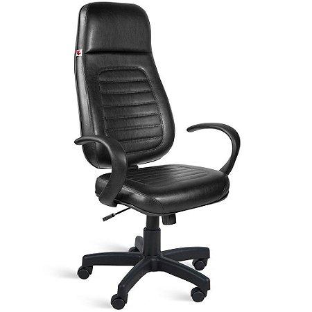 Cadeira Presidente Extra Relax Braços Couríssimo Preto Ônix