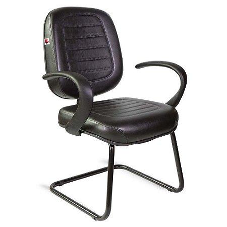 Cadeira Diretor Pé Contínuo Braços Couríssimo Preto Ônix