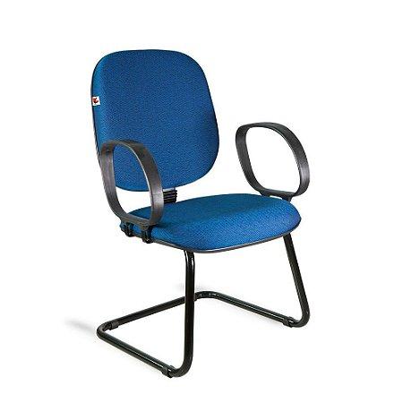 Cadeira Diretor Pé Contínuo Braços Tecido Azul Com Preto