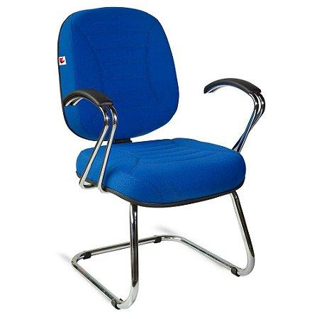 Cadeira Diretor Pé Contínuo Braços Tecido Azul Titânio
