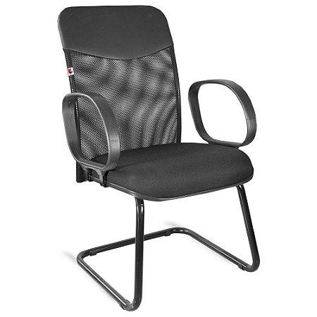 Cadeira Diretor Pé Contínuo Braços Tecido Preto Mercúrio