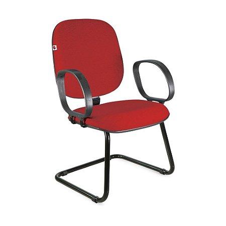 Cadeira Diretor Pé Contínuo Braços Tecido Vermelho