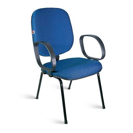Cadeira Diretor Pé Palito Braços Tecido Azul Com Preto