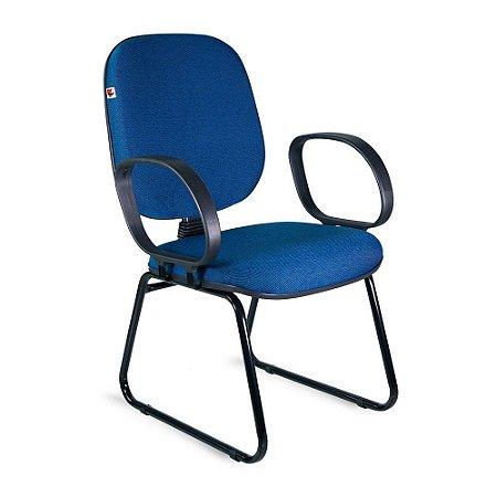Cadeira Diretor Pé Sky Braços Tecido Azul Com Preto