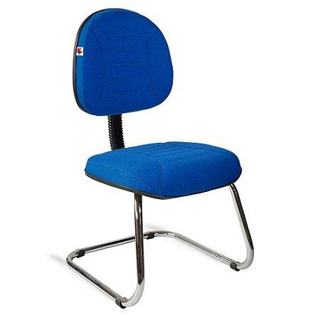 Cadeira Executiva Pé Contínuo Tecido Azul Titânio