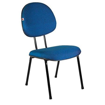 Cadeira Executiva Pé Palito Tecido Azul Com Preto