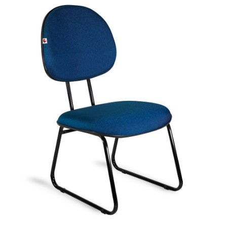 Cadeira Executiva Pé Sky Tecido Azul Com Preto