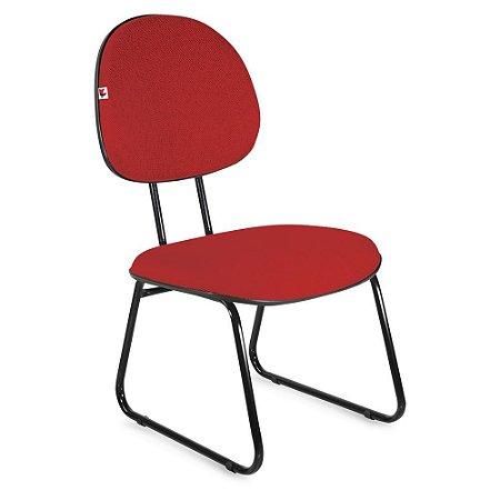 Cadeira Executiva Pé Sky Tecido Vermelho
