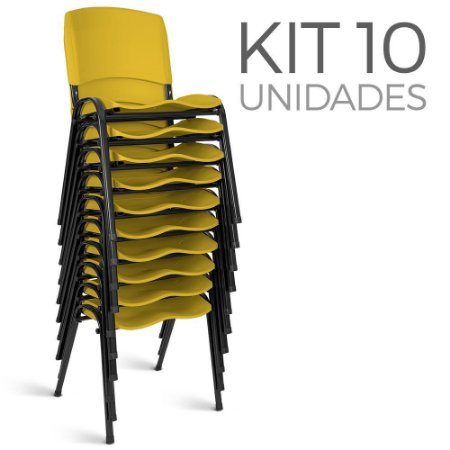 Cadeira Plástica Fixa Kit 10 A/E Amarelo Lara