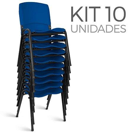 Cadeira Plástica Fixa Kit 10 A/E Azul Lara