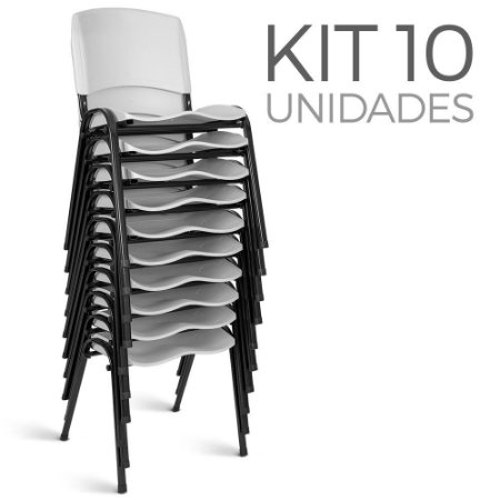 Cadeira Plástica Fixa kit 10 A/E Branco Lara