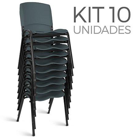 Cadeira Plástica Fixa kit 10 A/E Cinza Lara