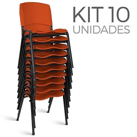 Cadeira Plástica Fixa kit 10 A/E Laranja Lara