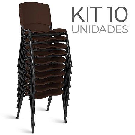Cadeira Plástica Fixa Kit 10 A/E Marrom Lara