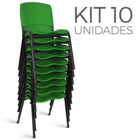 Cadeira Plástica Fixa Kit 10 A/E Verde Lara