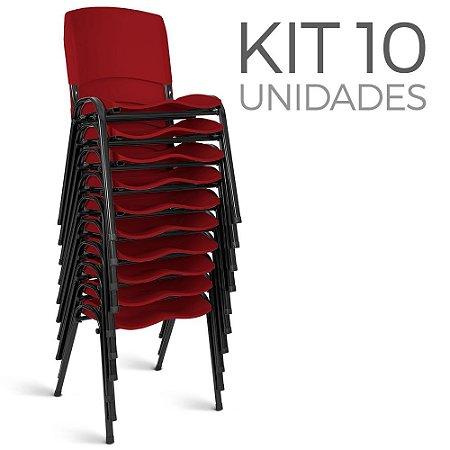 Cadeira Plástica Fixa Kit 10 A/E Vermelho Lara