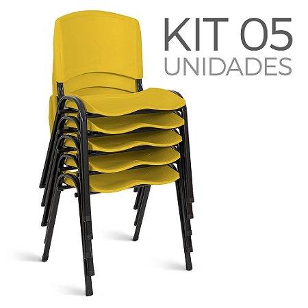 Cadeira Plástica Fixa Kit 5 A/E Amarelo Lara