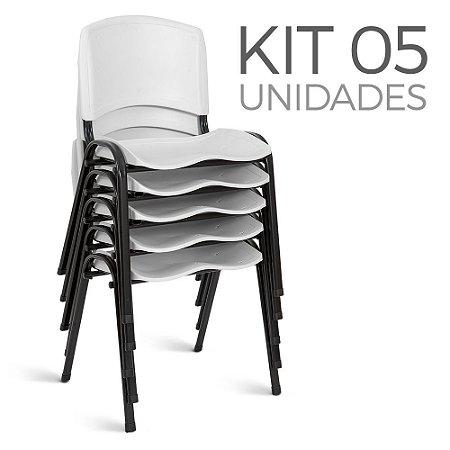 Cadeira Plástica Fixa kit 5 A/E Branco Lara