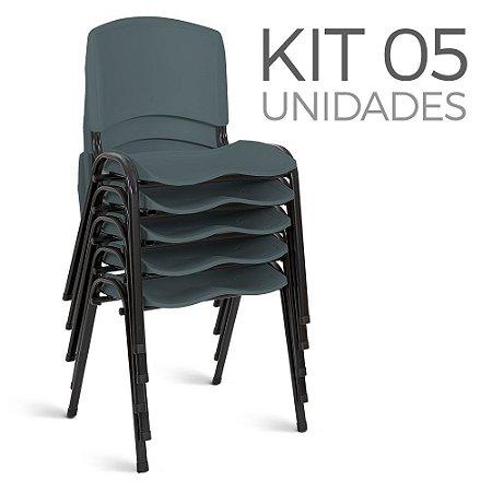 Cadeira Plástica Fixa kit 5 A/E Cinza Lara