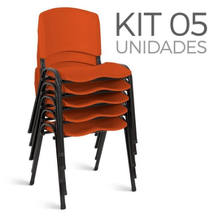 Cadeira Plástica Fixa Kit 5 A/E Laranja Lara