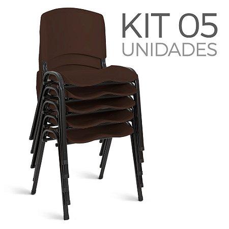 Cadeira Plástica Fixa Kit 5 A/E Marrom Lara