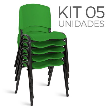 Cadeira Plástica Fixa Kit 5 A/E Verde Lara