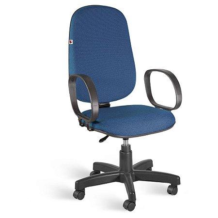 Cadeira Presidente Giratória Braços Tecido Azul Com Preto
