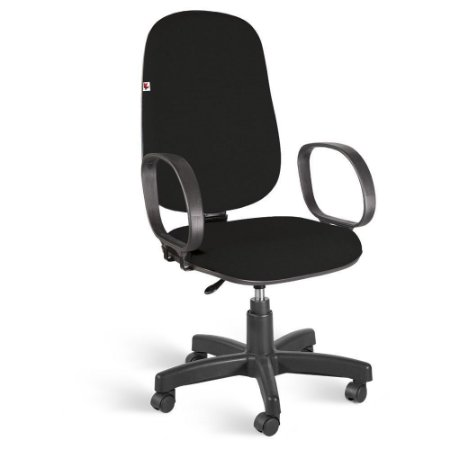 Cadeira Presidente Giratória Braços Tecido Preto