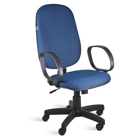 Cadeira Presidente Relax Braços Tecido Azul Com Preto Ágata