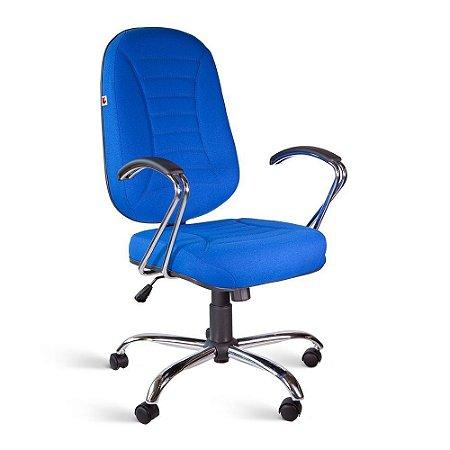 Cadeira Presidente Relax Braços Tecido Azul Titânio