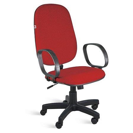 Cadeira Presidente Relax Braços Tecido Vermelho Ágata
