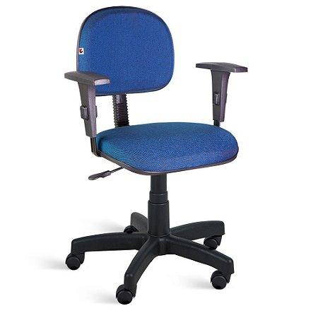 Cadeira Secretária Giratória Braços Tecido Azul Com Preto