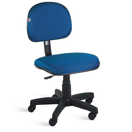 Cadeira Secretária Giratória Tecido Azul Com Preto
